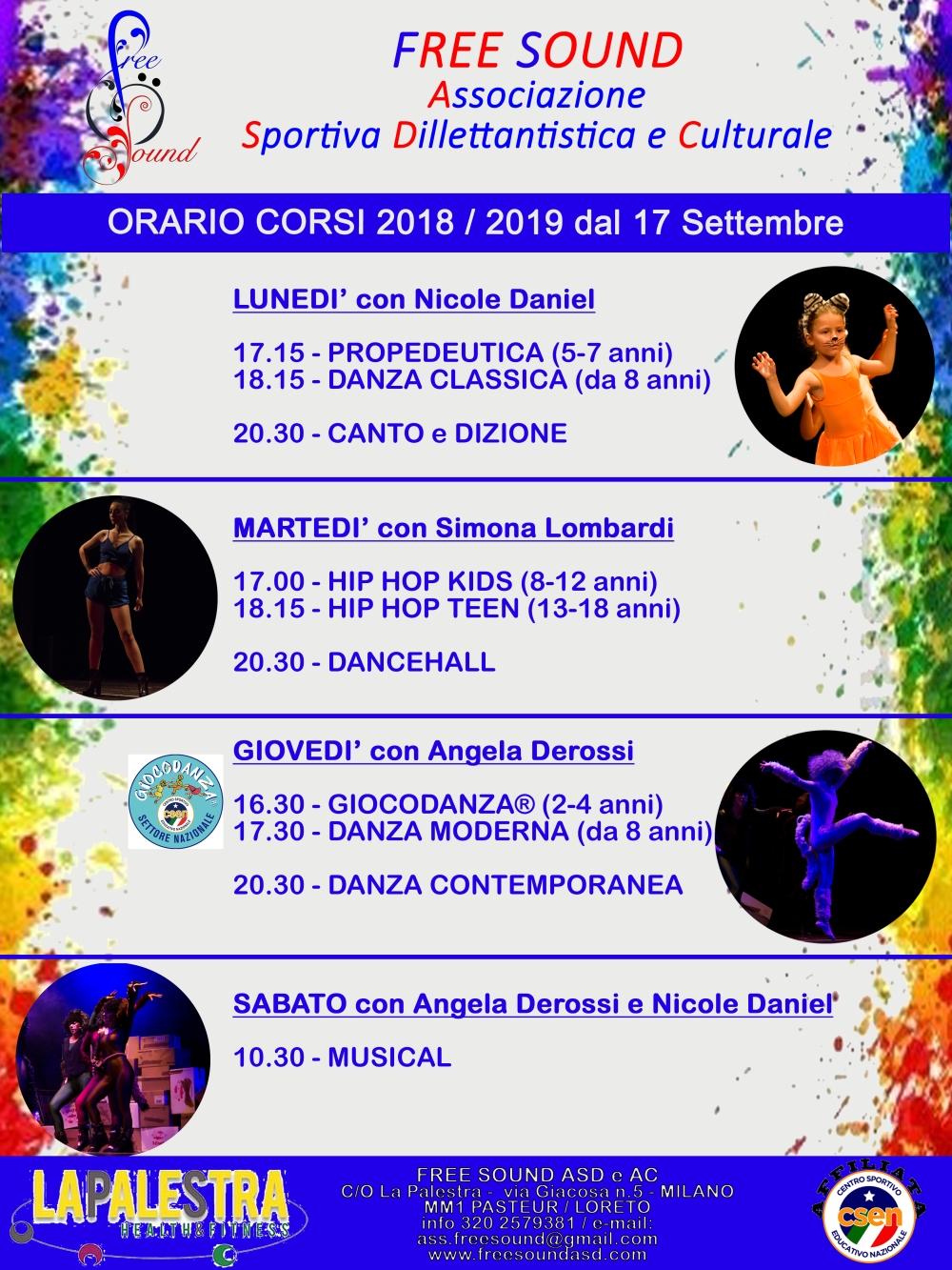 ORARIO CORSI_SETTEMBRE 2018